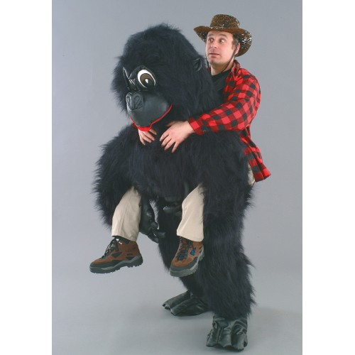 Mascotte Gorille noir et son passager